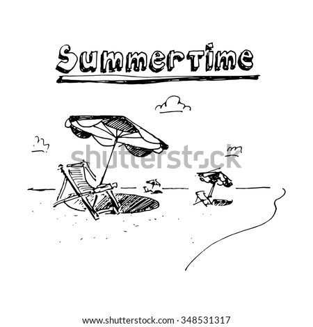 Beach chairs and with umbrella on the beach. Vector illustration isolated on white background