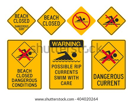Beach Closed signs - stock vector