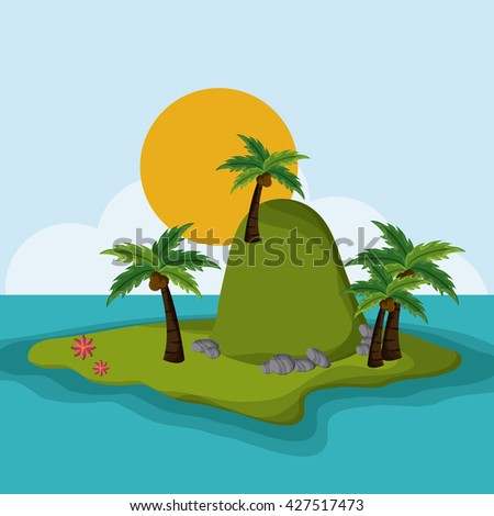 Beach design. Summer icon. Colorful illustration