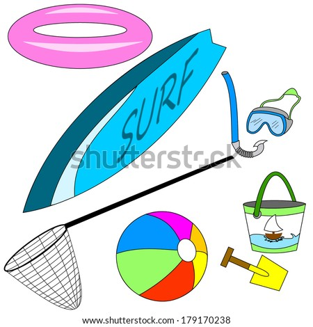 Beach equipment: surfboard, beach ball, dive mask with snorkel, pail and shovel for sand games, float and landing net. Vector art image, isolated on white background eps10 - stock vector