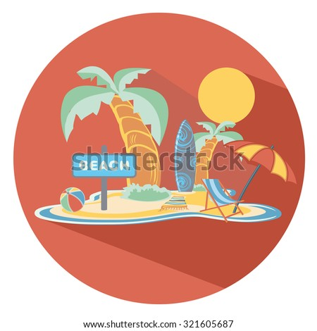beach flat icon in circle