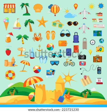 Beach holiday, icon set flat design - stock vector