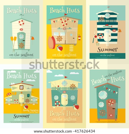 Beach Huts on Seafront Mini Posters Set. Summer Poster. Advertisement for Family Summer Vacation in Beach Houses. Vector Illustration. - stock vector