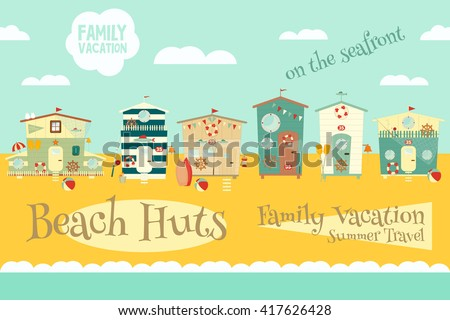 Beach Huts on Seafront. Summer Poster. Advertisement for Family Summer Vacation in Beach Houses. Vector Illustration. - stock vector