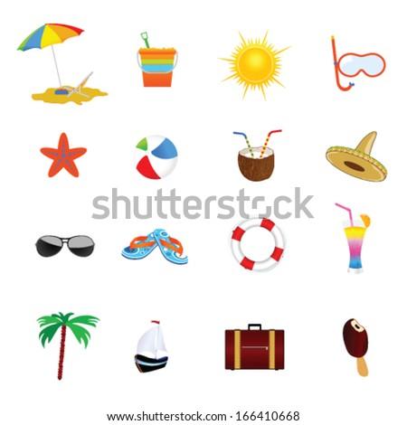 beach icon color vector illustration - stock vector