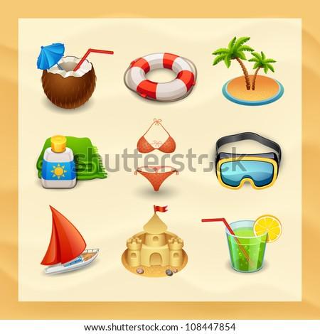 beach icon set-2 - stock vector