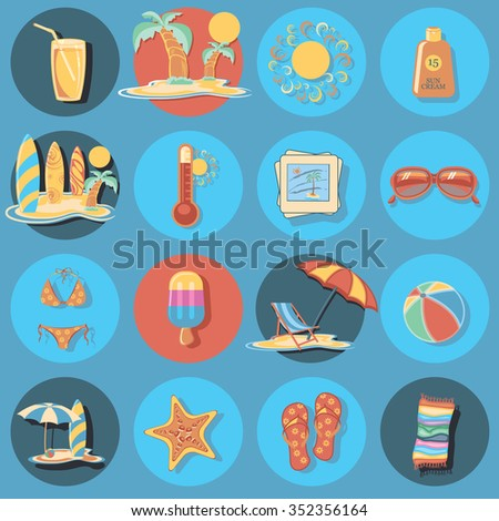 beach icon set  - stock vector