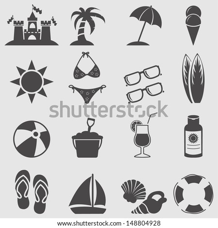 Beach icon set.Vector - stock vector