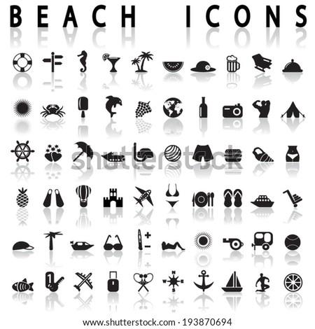 Beach Icons - stock vector