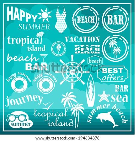 Beach icons, elements. vector - stock vector