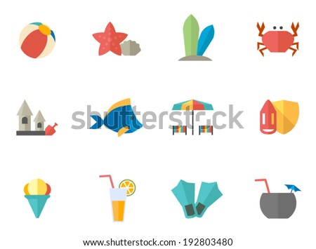 Beach icons in flat colors style.  - stock vector