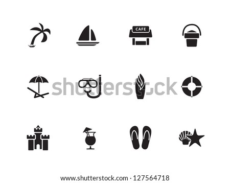 Beach icons on white background. Vector illustration. - stock vector