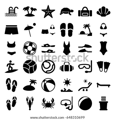 Beach Icons Set Set 36 Beach Stock Vector 648310699 Shutterstock