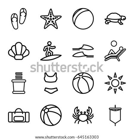 Beach Icons Set Set 16 Beach Stock Vector 645163303 Shutterstock