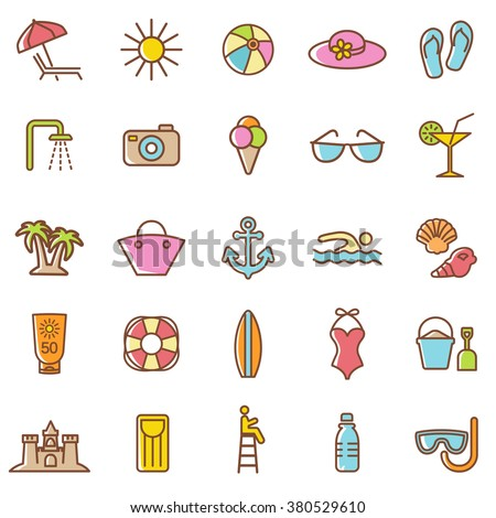 Beach  icons set.Vector - stock vector