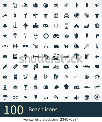 beach Icons Vector set. beach Icons Symbol set. beach Icons Picture set. beach Icon Image set. beach Icons Shape set. beach Icons Sign set 100 beach icon on white background  - stock vector