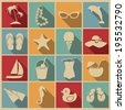 Beach icons. Vector set, EPS 8. - stock
