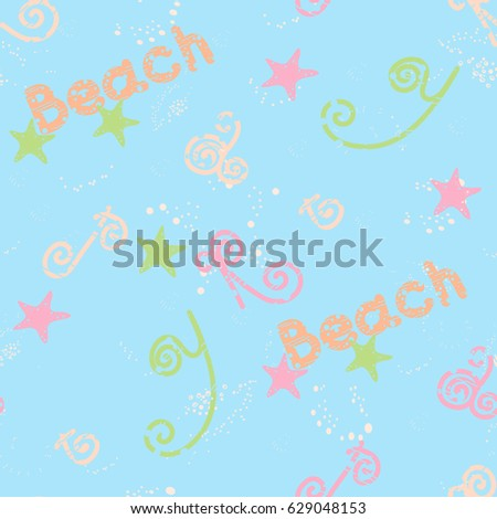 Beach life seamless pattern with fish stars, shells, waves and letters. Vector illustration for children beach party, textile, home decor, wrapping paper, wallpaper and more. All over print.