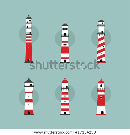 beach lighthouse seashore view vector art illustration - stock vector