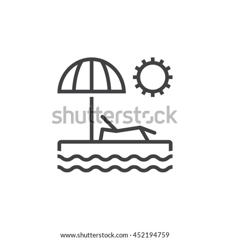 Beach Line Icon Summer Vacation Outline Vector Logo Linear Pictogram Isolated On White