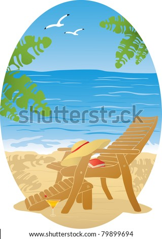 Beach lounger on the sea-landscape - stock vector