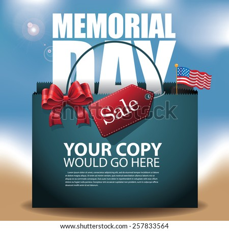 Beach Memorial Day Sale shopping bag Background EPS 10 vector royalty free stock illustration for greeting card, ad, promotion, poster, flier, blog, article, social media, marketing - stock vector