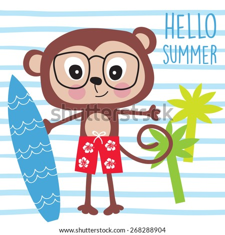 beach monkey vector illustration - stock vector