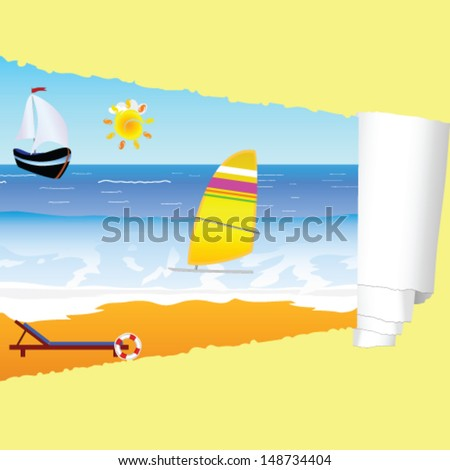 beach paradise with tearing paper vector illustration - stock vector