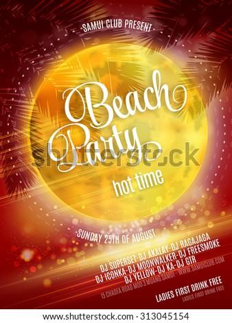 Beach Party Poster. Vector EPS 10 - stock vector