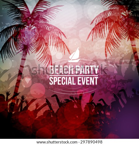 Beach Party Poster - Vector Illustration