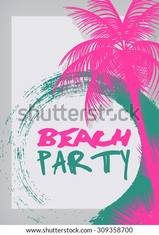 Beach Party Poster with Palm Tree - Vector Illustration - stock vector