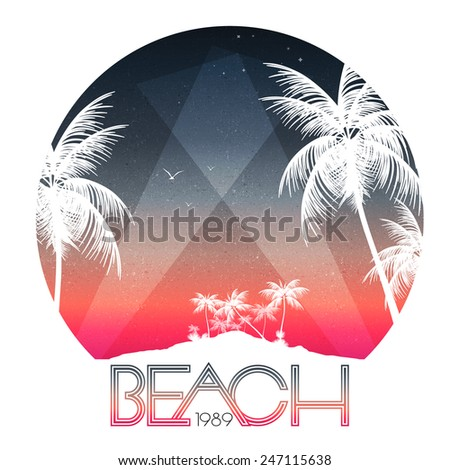 Beach Party Poster with Tropical Island and Palm Trees - Vector Illustration - stock vector