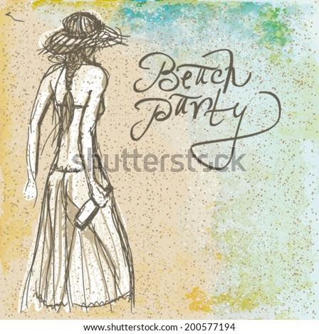 BEACH PARTY / Sketch of trendy girl with beer  - stock vector