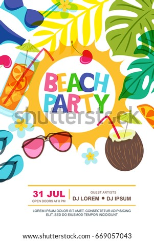 Beach party vector summer poster design stock vector 669057043 beach party vector summer poster design template sun palm leaves and cocktails doodle illustration stopboris Images