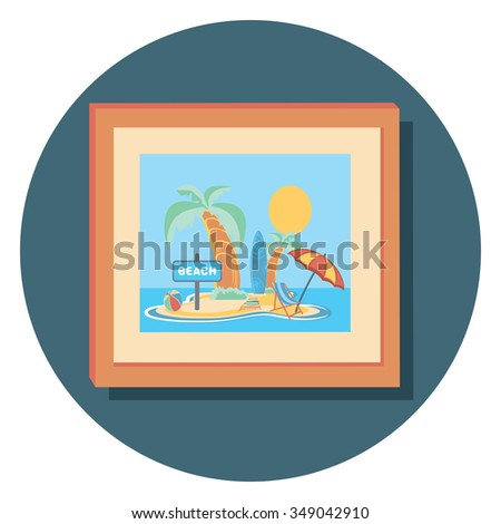 beach picture circle icon with shadow - stock vector