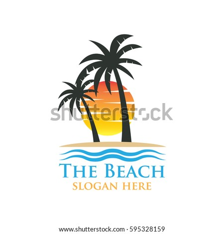 beach resort summer theme logo design stock vector