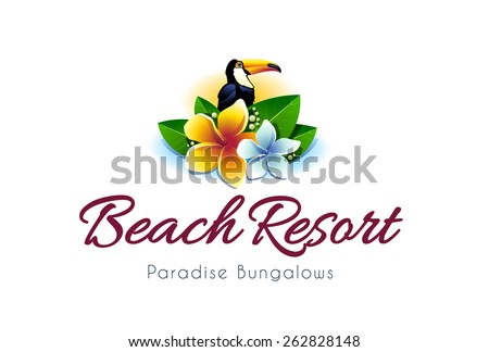 Beach resort hotel logo design template. Vector art. - stock vector