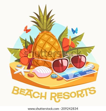 Beach resorts. Vector illustration. - stock vector