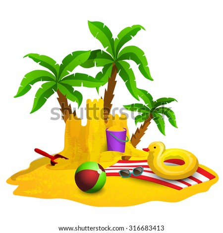 Beach rest background with sandcastle ball and palms cartoon vector illustration