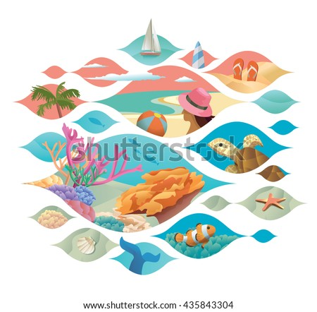 Beach scene and underwater scene vector with collage style design - stock vector