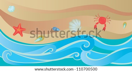 Beach scene with water, sand and sea creatures - stock vector