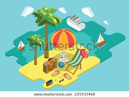 Beach sea ocean cruise summer vacation flat 3d isometric pixel art modern design concept vector. Palm island chaise lounge deck chair suitcase thongs. Web banners website infographics illustration. - stock vector