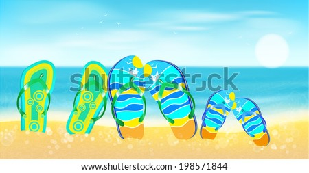 Beach, sea,sand and bright beach shoes.Summer background. - stock vector
