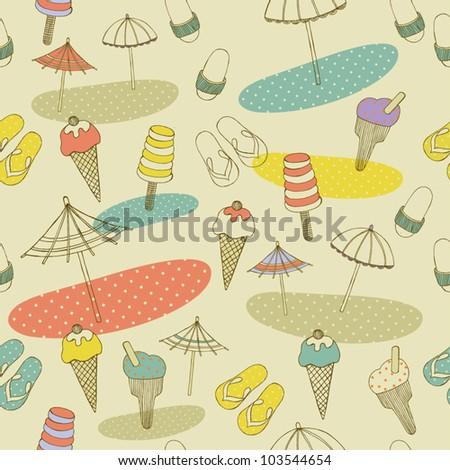 beach seamless pattern - stock vector