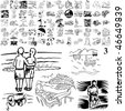 Beach set of black sketch. Part 106-13. Isolated groups and layers. - stock photo