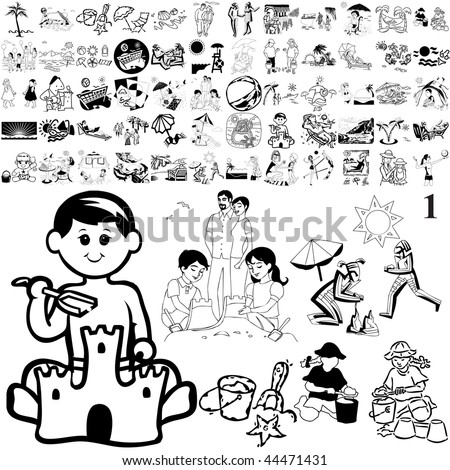 Beach set of black sketch. Part 101-11. Isolated groups and layers. - stock vector