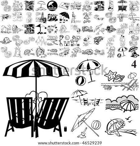Beach set of black sketch. Part 105-4. Isolated groups and layers.