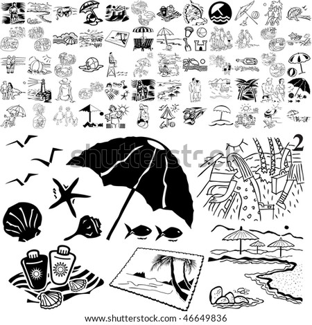 Beach set of black sketch. Part 106-12. Isolated groups and layers.