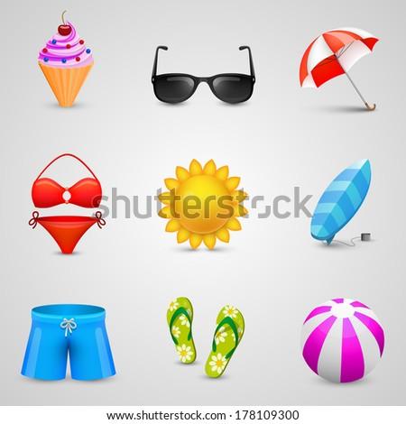 Beach set of icons. Vector - stock vector