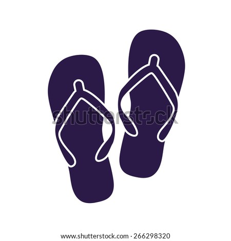 Beach slippers. Single flat icon on white background. Vector illustration. - stock vector
